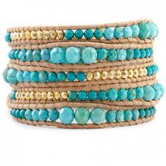 Chan Luu Beige Leather Turquoise Mix Wrap Bracelet