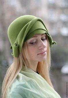 """Купить шляпка-клош """"Пробуждение"""" - салатовый, шляпка, клош, необычный, весна, велюр, шерсть, однотонная"""