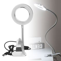 Buy 8X Clip Lighted Table Top Desk Magnifier Lamp LED Light Magnifying Glass with Clamp 360°Metal Hose, Best Gift for Reading Crafts Hobbies at Walmart.com Magnifying Desk Lamp, Magnifying Glass, Light Table, Lamp Light, Metal Hose, Floor Mirror, Led Lamp, Clamp, Hobbies