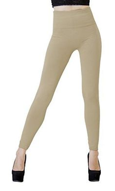 d1b4c2f9202499 DK Monarchy Womens Seamless Full Length Thick Fleece Leggings  KhakiCompression Waist 012 *** Want