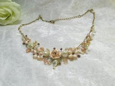 Bridal necklace Wedding jewelry vintage necklace by Asnatjewelry