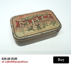 French Medicine Pill Tin Menthol-Borate-Coca�ne Vintage Pill Box Drug Box Vintage Tin box,Metal box Medical Collection D