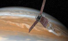 Taiteilijan näkemys Jupiteria tutkivasta avaruusluotain Junosta. NASA:n lähettämä luotain saapui Jupiterin kiertoradalle 5. heinäkuuta 2016 Suomen aikaa.