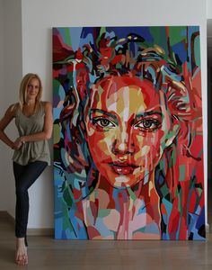 """New woman portrait. 200/140 cm. """"This is my sweet spot"""" (Mix Colors Chart)"""