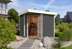 Tuinhuis Schwandorf 5 uit de Woodfeeling collectie van het Duitse A-merk Karibu wordt standaard geleverd in de kleur terragrijs wat zorgt voor 100% bescherming van het hout. Deze luxe geverfde berging voor in je tuin kan eenvoudig worden opgebouwd doormiddel van het waterdichte steek-/schroefsysteem van 19 mm ronde profielen met mes en groef van Scandinavisch vuren hout. Garage Doors, Shed, Outdoor Structures, Outdoor Decor, Modern, Home Decor, Products, Gray, Earth