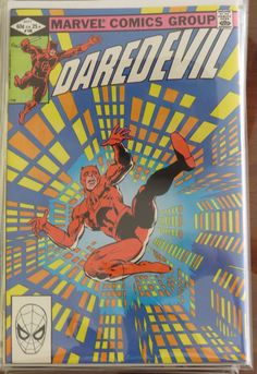 Daredevil # 186. Frank Miller & Klaus Janson did the cover. In this issue Matt begins gathering criminal evidence to sink Glenn industries. Turk steals the Stilt Man armor and tries to prove himself to the Kingpin (and fails miserably). DD's hyper-senses start going wild. Matt pressures Heather into accepting his proposal of marriage. thecosmiccomicbookbroadcast.blogspot.com