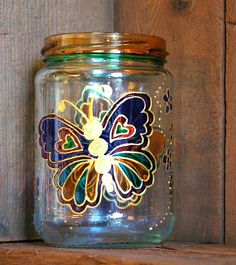 butterflies1 pen pot or candle pot £5.00