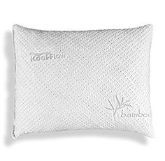 Slim Hypoallergenic Bamboo Pillow - Shredded Memory Foam With Kool-Flow Micro-Vented Bamboo Cover - Made in the USA by Xtreme Comforts - Hypoallergenic and Dust Mite Resistant (Standard)