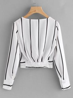 Sexy listrado preto e branco blusas - brazil shein(sheinside) . Girls Fashion Clothes, Teen Fashion Outfits, Mode Outfits, Girl Fashion, Fashion Dresses, Womens Fashion, Spring Fashion, Blouse Styles, Blouse Designs