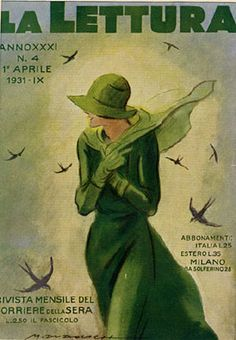 """""""La Lettura"""", vintage Italian magazine - April 1st, 1931 - Cover illustration by Marcello Dudovich"""