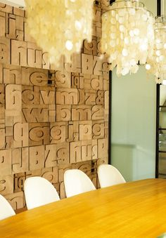 wow- love this wall and the chandeliers!!!