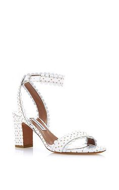 Leticia perforated-leather sandals in white by TABITHA SIMMONS Available Now on Moda Operandi