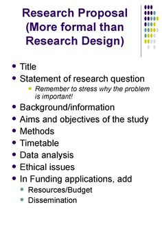 how to write a research design proposal