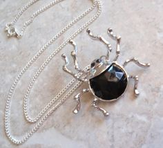 Silver Spider Necklace Large Black Faceted Acrylic by cutterstone, $19.00