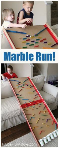 Turn a Cardboard Box into an Epic Marble Run - Great engineering challenge for k. Turn a Cardboard Box into an Epic Marble Run - Great engineering challenge for kids. Fun group activity to see what each group comes up with! Kids Crafts, Craft Stick Crafts, Projects For Kids, Craft Sticks, Popsicle Sticks, Craft Ideas, Easy Crafts, Recycled Crafts Kids, Diy Ideas