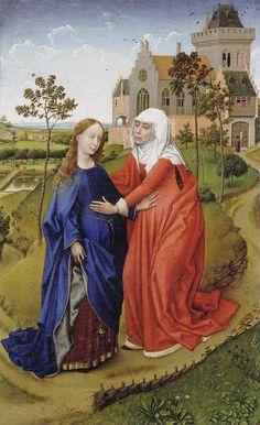 """La visitación (""""The visitation""""). Rogier van der Weyden. 1445. Localización: Museum der Bildenden Künste (Leipzig). https://painthealth.wordpress.com/2016/10/26/la-visitacion/"""