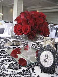 red rose and black centerpeice - Google Search
