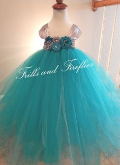 Teal and Grey Flower girl tutu dress with by FrillsandFireflies