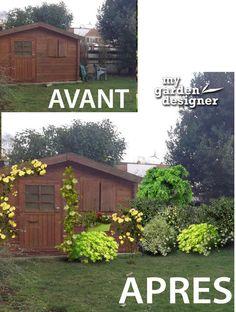 cacher cabane de jardin. Avant/aprés réalisé avec le site www.monjardin-materrasse.com