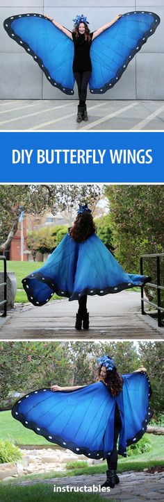 I've always loved blue morpho butterflies. Their radiant color and iridescence can't be matched. Find out how to make your own butterfly costume with this full tutorial. #HalloweenCostume #Butterflies