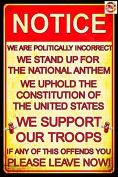 NATIONAL ANTHEM Politically Incorrect Man Cave Sign MADE…