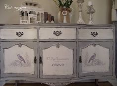 Grey - Gray painted chest. Cat-arzyna