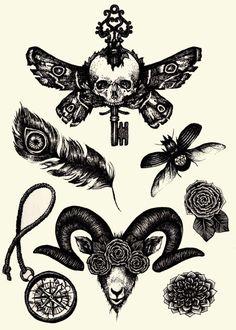 ? skull key ram tattoo flash dream catcher beetle flower