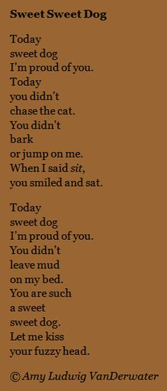 The Poem Farm: Sweet Sweet Dog - Love Poems | growing poetry and lessons for all ages... Today's poem is about being proud of your dog!  You might use it to teach children about writing about specific feelings or repetition.  Visit The Poem Farm for hundreds of poems, poem mini lessons, and poetry ideas for home and classroom - www.poemfarm.amylv.com