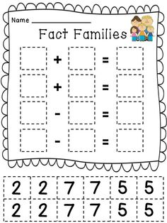 Fact Family Cut and Pastes - make them really think about where the numbers go! :)