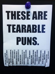 """Tearable Puns"" in the Midland County Public Library teen area."