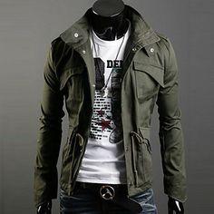 casual / trabalho puro de manga longa de algodão / jaqueta de sarja dos homens regulares - BRL R$ 102,57