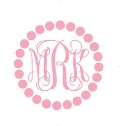 Fancy Car Monogram Sticker With Polka Dot by MyMonogramHeaven, $6.00