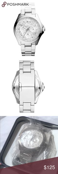 Fossil Cecile' Pavé Dial Multifunction Watch Fossil silver Cecile watch NWT and never worn. Highly sought after and in PERFECT condition! Still in original packaging. I received this watch as a gift, but I don't need a silver watch. Will go lower on Ⓜ️ app! Fossil Jewelry Bracelets