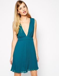 probably too revealing, but pretty. ASOS Pleated Mini Dress With Plunge Neck