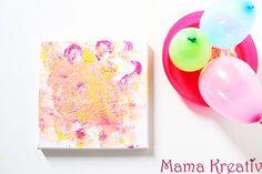Malen mit luftballons ballons kinder leinwand gestalten ideen canva painting ideas balloon