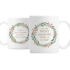 Personalised Ceramic Mug - Christmas, A Wonderful Time of The Year Personalized Christmas Mugs, Personalized Items, Time Of The Year, Wonderful Time, Hot Chocolate, Gifts For Friends, Christmas Wreaths, Merry, Messages