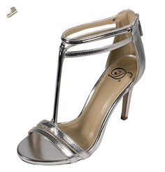 Delicious Women's Irsia Peep Toe Gold Accent Strappy High Heel, silver metallic leatherette, 9 M US - Delicious pumps for women (*Amazon Partner-Link)