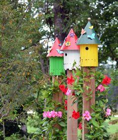 bunte Vogelhäuser Design Ideen Dekoration