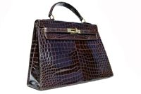 Stunning XL 1950's-60's LOUISE FONTAINE Crocodile POROSUS KELLY Bag - HERMES