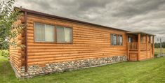 cabin siding for manufactured homes | I don't like the porch but I like the siding and the rock at the bottom