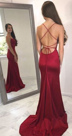 Newest Prom Dress,Spaghetti Straps Prom Dress,Mermaid Prom Dress,Long Prom Dress,Evening Dress Spaghetti Straps Long Simple Prom Dress with Split Party Dress