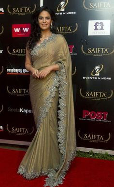 Mona Singh in SAIFTA 2013 - Latest Hot Pics in Golden Saree Recent Photos New Images