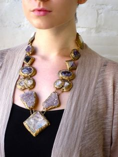 STATEMENT NECKLACE-SemiPrecious Minerals and Stones multi color -Wearable Art by Pauletta Brooks