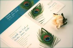 Peacock Feather Wedding Invitation Suite - SAMPLE