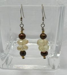 Faceted Citrine and Freshwater Pearl Handmade Earrings, Perfect Office Wear, Yellow and Brown, 1 3/4 Inch Drop, Sterling Silver Ear Wires by ElysiumUniqueJewelry on Etsy