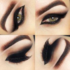 Eye shadow tutorial for dark skin black eye make up 55 Ideas for 2019 Bold Makeup Looks, Dramatic Eye Makeup, Unique Makeup, Sexy Makeup, Dark Makeup, Smokey Eye Makeup, Makeup Style, Makeup Eyes, Makeup Art