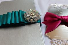 Metal  wedding Invitation with brooch box from Inviting Luxury