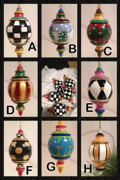 Hand Painted Solid Wood Christmas Finial Ornaments -This price is for one ornament Christmas Balls, Christmas Tree Ornaments, Christmas Holidays, Christmas Decorations, Black Christmas, Whimsical Painted Furniture, Hand Painted Furniture, Painted Wood, Hand Painted Ornaments
