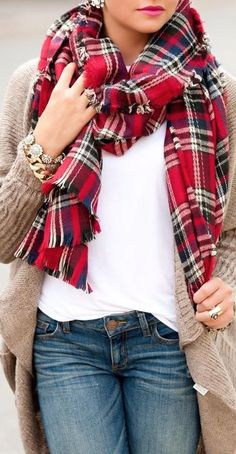 Blanket Scarf with tan cardigan and white tank