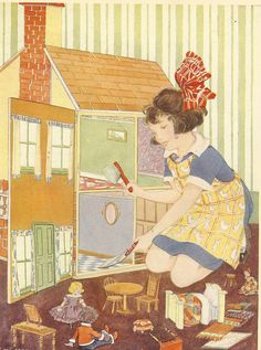 Sweeping out dolls house with dustpan and brush
